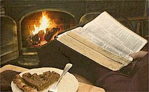 Bible by fireplace