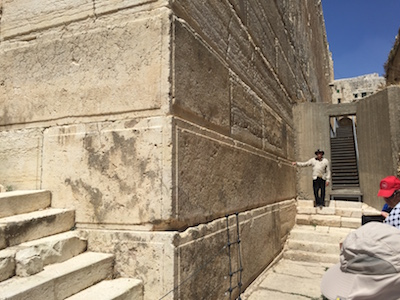 Showing the length of one of the stones from Herod's temple construction