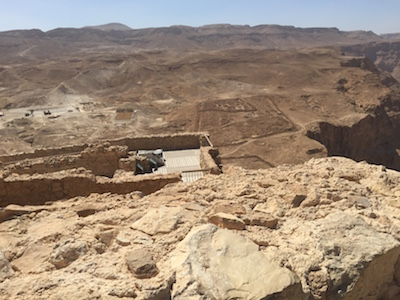 Lines in the dirt around Masada show where the Romans camped during the siege